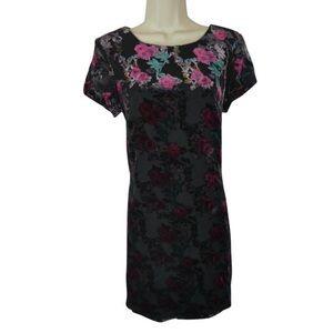 Velvet Flock Floral Sheath Dress